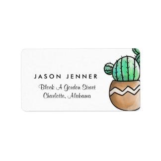 Mariage minimal rustique de cactus succulent étiquette d'adresse