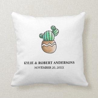 Mariage minimal rustique de cactus succulent oreiller