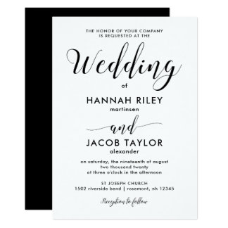 Mariage minimaliste noir et blanc carton d'invitation  12,7 cm x 17,78 cm
