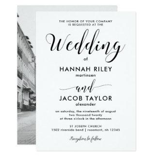Mariage minimaliste noir et blanc de photo carton d'invitation  12,7 cm x 17,78 cm