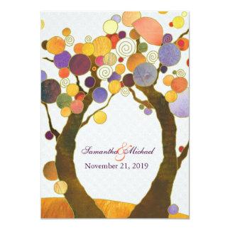 Mariage moderne coloré d'arbres d'amour d'automne carton d'invitation  12,7 cm x 17,78 cm
