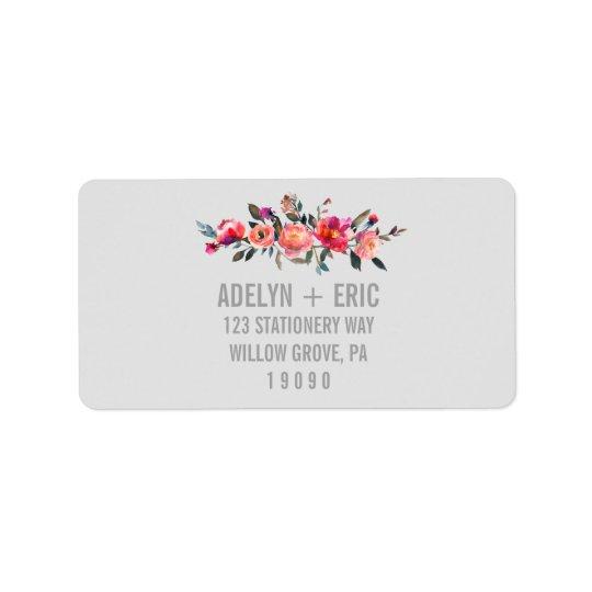 Mariage moderne de fleur d'hiver du gris | étiquette d'adresse