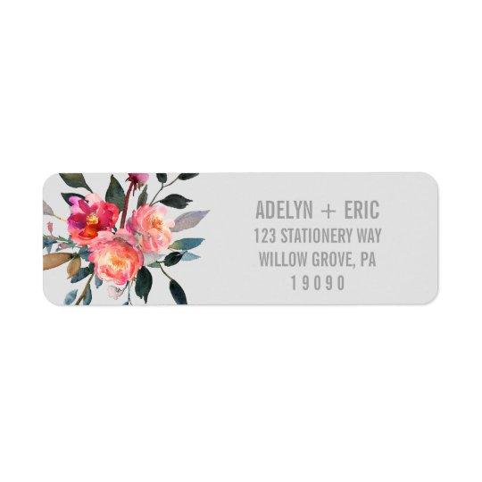 Mariage moderne de fleur d'hiver du gris | étiquette d'adresse retour