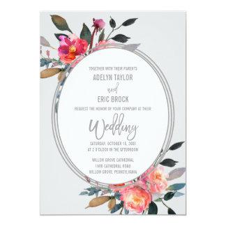 Mariage moderne de guirlande de fleur d'hiver du carton d'invitation  12,7 cm x 17,78 cm
