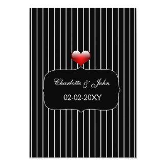 Mariage moderne de rayures noires et blanches carton d'invitation  12,7 cm x 17,78 cm