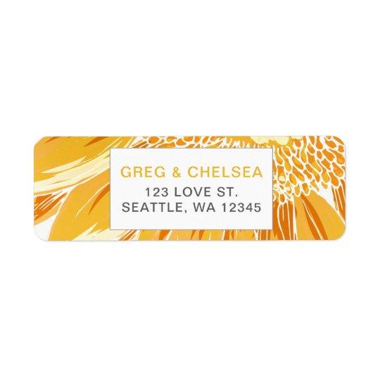 Mariage moderne de tournesol étiquettes d'adresse retour