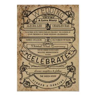 Mariage moderne de typographie d'annonce rustique carton d'invitation  12,7 cm x 17,78 cm