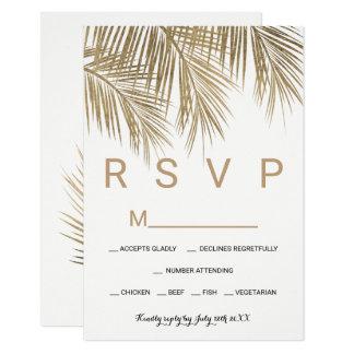 Mariage moderne du palmier RSVP d'or de faux Carton D'invitation 8,89 Cm X 12,70 Cm