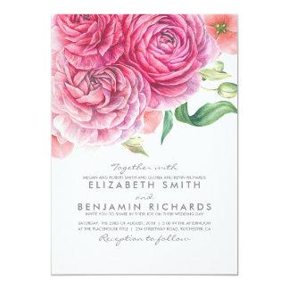 Mariage moderne élégant botanique floral carton d'invitation  12,7 cm x 17,78 cm