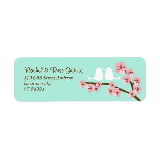 Mariage moderne en bon état de fleurs de cerisier étiquettes d'adresse retour