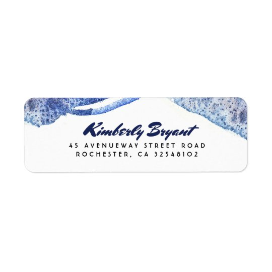 Mariage moderne en cristal d'aquarelle bleue étiquette d'adresse retour