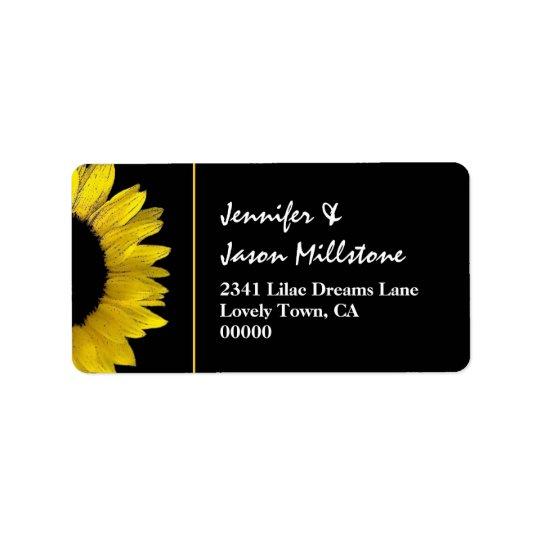 Mariage moderne gai de tournesol jaune et noir étiquette d'adresse