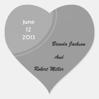 Mariage moderne gris simple sticker cœur