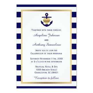 Mariage nautique chic personnalisé de marine d'or carton d'invitation  12,7 cm x 17,78 cm