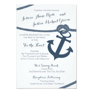 Mariage nautique de corde et d'ancre carton d'invitation  12,7 cm x 17,78 cm