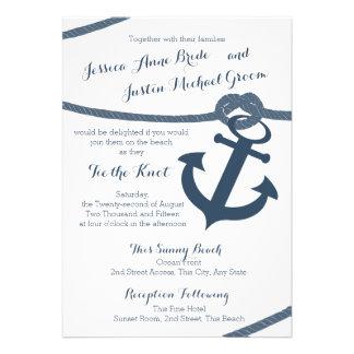 Mariage nautique de corde et d'ancre invitations personnalisées