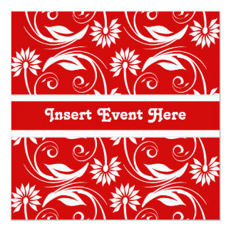 Mariage noir blanc rouge de fiançailles carton d'invitation  13,33 cm