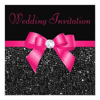 Mariage noir d'arc de roses indien de paillettes carton d'invitation  13,33 cm