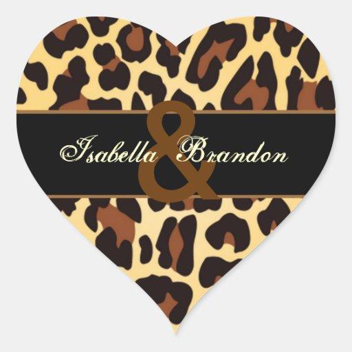 Mariage noir de léopard d'or autocollant en cœur
