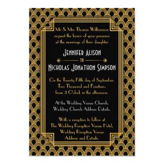 Mariage noir de motif de fans d'art déco d'or de carton d'invitation  12,7 cm x 17,78 cm