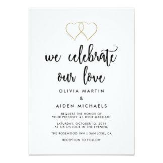 Mariage noir et blanc moderne carton d'invitation  12,7 cm x 17,78 cm