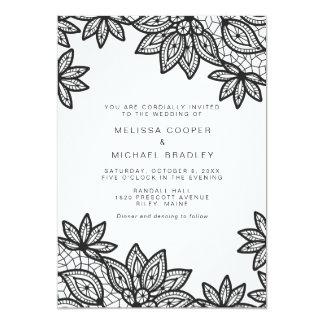 Mariage noir et blanc moderne de dentelle carton d'invitation  12,7 cm x 17,78 cm