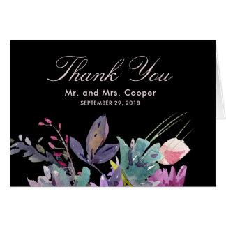 Mariage noir floral de pré pour aquarelle chic cartes de vœux