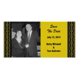 Mariage noir jaune de motif carte avec photo
