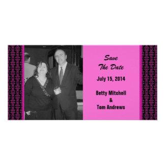 Mariage noir rose de motif photocarte personnalisée
