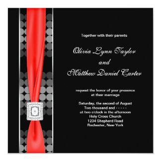 Mariage noir rouge blanc de noir moderne de point carton d'invitation  13,33 cm