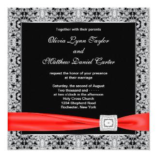 Mariage noir rouge blanc noir faire-part personnalisé