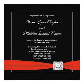 Mariage noir rouge blanc noir invitations personnalisées