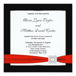 Mariage noir rouge noir blanc rouge cartons d'invitation personnalisés