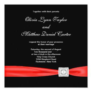 Mariage noir rouge rouge blanc noir carton d'invitation  13,33 cm