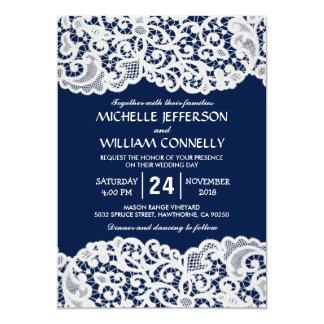 Mariage nuptiale élégant de dentelle de bleu carton d'invitation  12,7 cm x 17,78 cm