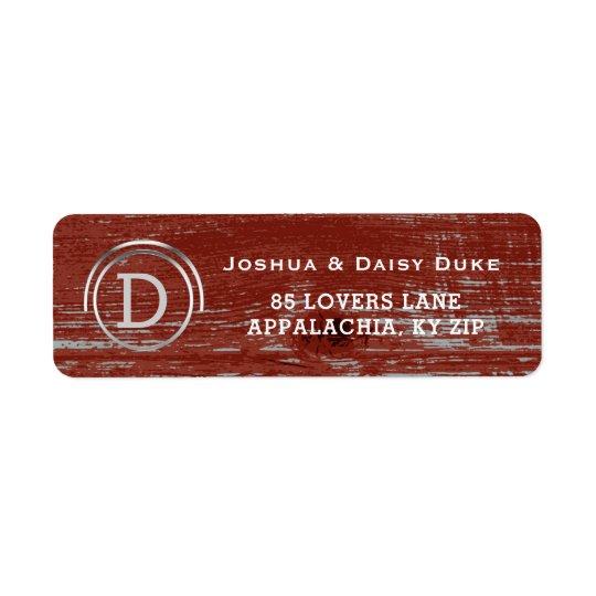 Mariage occidental de grange de pays en bois rouge étiquette d'adresse retour
