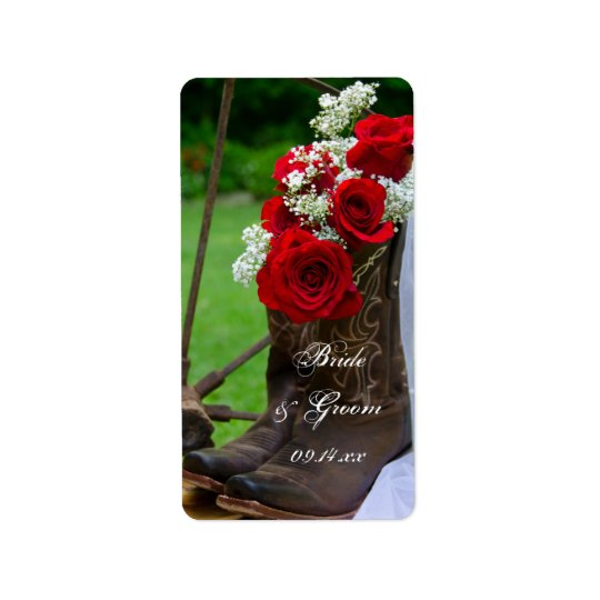 Mariage occidental de roses de cowboy de pays étiquette d'adresse
