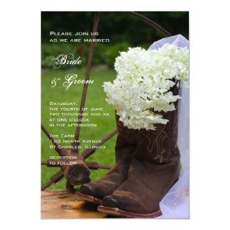 Mariage occidental rustique de bottes d'hortensia carton d'invitation  12,7 cm x 17,78 cm