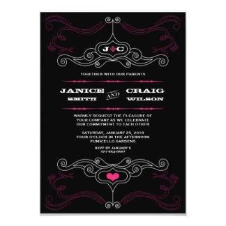 Mariage orienté de musique rose et noire de rock carton d'invitation  12,7 cm x 17,78 cm