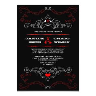 Mariage orienté de musique rouge et noire de rock carton d'invitation  12,7 cm x 17,78 cm
