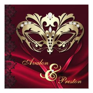 Mariage orné de bijoux rouge de mascarade d'or carton d'invitation  13,33 cm