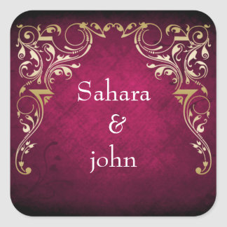 Mariage ornemental majestueux rustique de fuchsia sticker carré