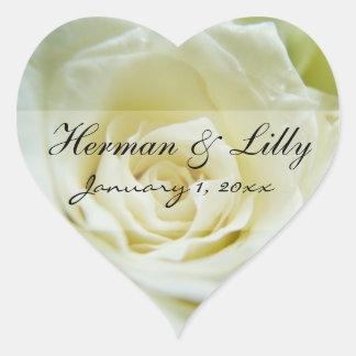 Mariage personnalisé de rose blanc autocollants en cœur