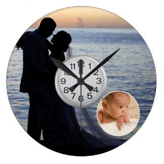 mariage personnalisé et horloge murale d'images de