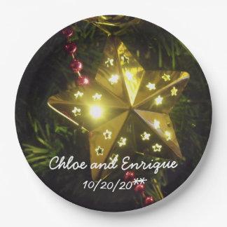 Mariage personnalisé par étoile de Noël Assiettes En Papier