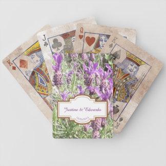 Mariage personnalisé par fleurs de lavande jeu de cartes