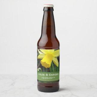 Mariage personnalisé par jonquille molle de foyer étiquette pour bouteilles de bière