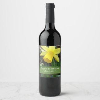 Mariage personnalisé par jonquille molle de foyer étiquette pour bouteilles de vin