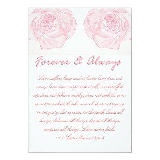 Mariage pour toujours et toujours rose d'écriture carton d'invitation  12,7 cm x 17,78 cm