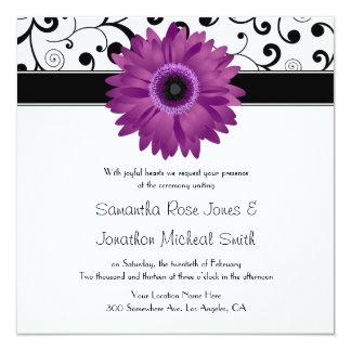 Mariage pourpre de conception de rouleau de noir carton d'invitation  13,33 cm